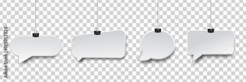 Fotografía  Vector collection of realistic isolated hanging speech bubbles on the transparent background