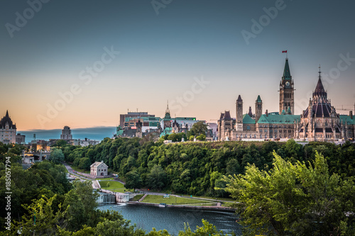 OTTAWA, ONTARIO / CANADA - AUGUST 06 2017: PARLIAMENT HILLS. MORNING