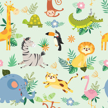 Seamless Pattern With Cute Wil...