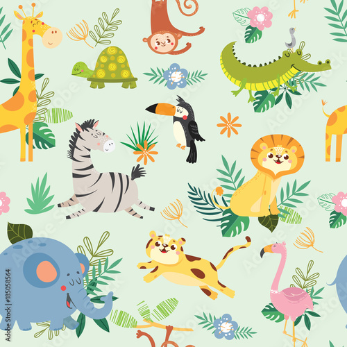 Seamless pattern with cute wild animal. African safari.Vector illustration