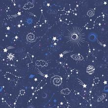 Galaxy Constilation Seamless Pattern Print