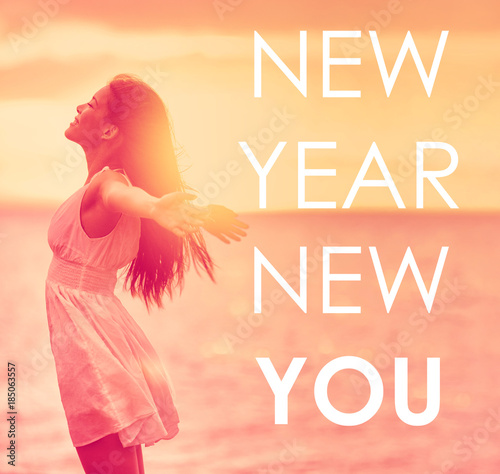 Superior NEW YEAR, NEW YOU Inspirational Quote On Happiness Background Of Girl With  Open Arms In