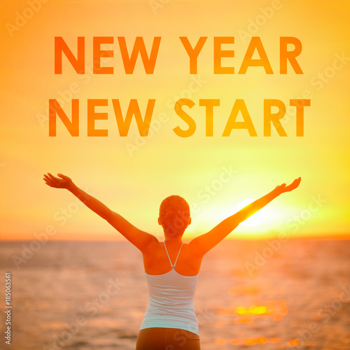 Fotografie, Obraz  NEW YEAR NEW START motivational message, inspirational quotes for the New Year resolution in fitness weight loss