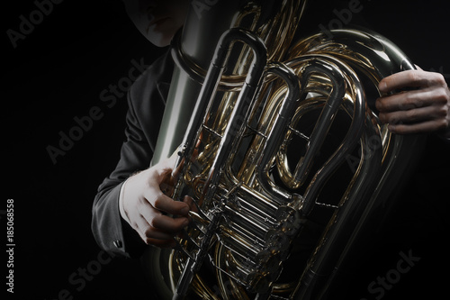 Foto auf Gartenposter Musik Tuba brass instrument. Wind music horn player