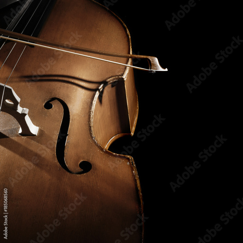Stickers pour porte Musique Double bass player Hands playing contrabass strings with bow