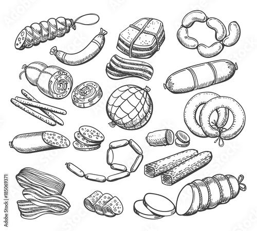 Fotografie, Obraz Sausages sketch