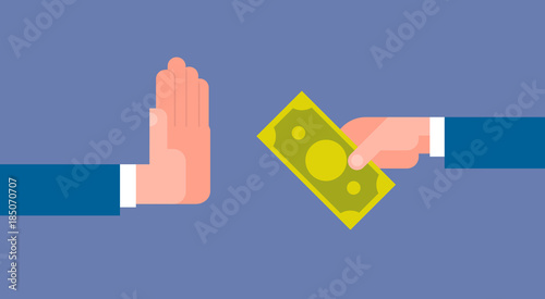Valokuva  Stop Corruption Concept Hand Giving Business Man Money Flat Vector Illustration