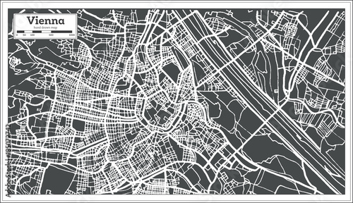 Photo Vienna Austria Map in Retro Style.