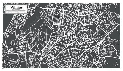 Fotomural  Vilnius Lithuania Map in Retro Style.