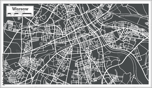 Fototapeta Warsaw Poland Map in Retro Style. obraz