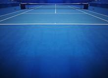 Blue Tennis Court Sport Backgr...