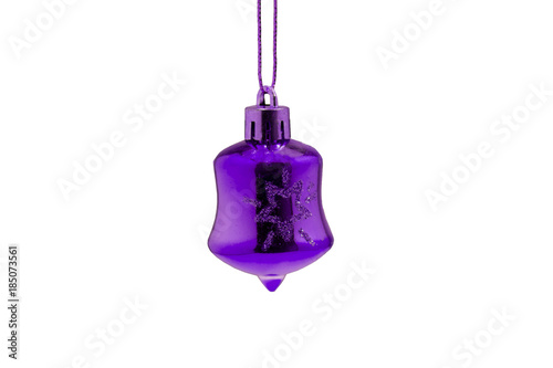 Fototapeta Christmas decoration and purple Christmas toy isolated on white background obraz na płótnie