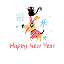 New Years Bright Postcard With...