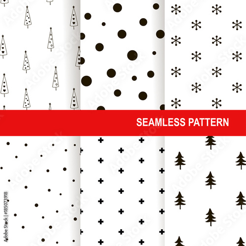 Stoffe zum Nähen Christmas seamless pattern. Vector background set. Holiday winter design greeting card, backdrop, wrapping paper. Scandinavian style collection decoration. Monochrome elements isolated on white.