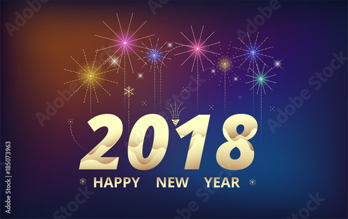 2018 happy new year background celebration firework design simple firework decoration vector illustration