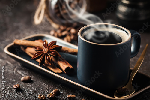Espresso cup of hot coffee