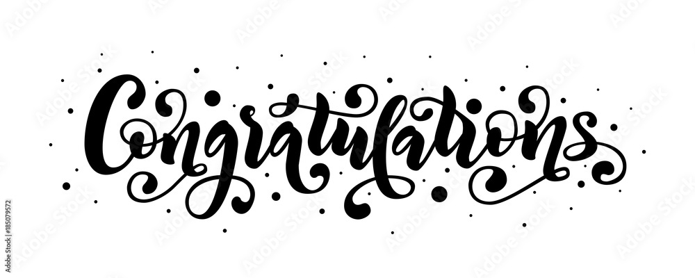 Valokuva  Congratulations hand lettering quote