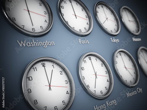Fotografie, Tablou Modern wall clocks showing different time zones of world cities