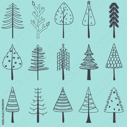 Vector illustration of simple hand drawn Christmas tree, set
