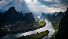 Sunbeams Over Li River And Mountains, Guilin, China
