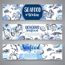 Seafood Banners Hand Drawn Vec...
