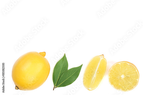 Foto op Canvas Bloemen lemon with leaves and slices isolated on white background with copy space for your text. Flat lay, top view, close-up