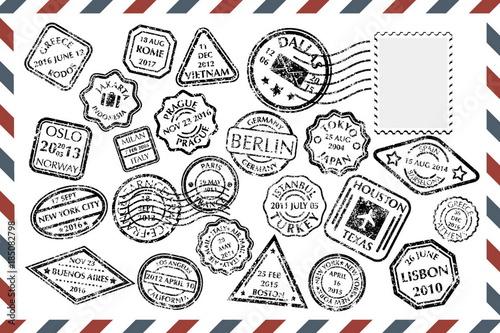 Fotografía  Postal Stamps set on envelope