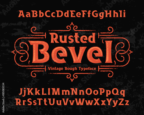 Valokuvatapetti Old textured font named Rusted Bevel with vector decorative ornate