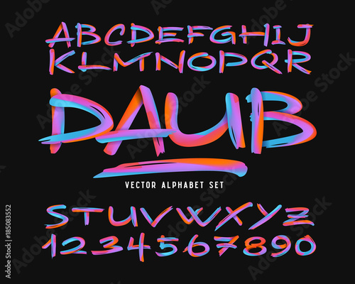 Photo  Vector colorful abstract alphabet set. Bright modern brush font.