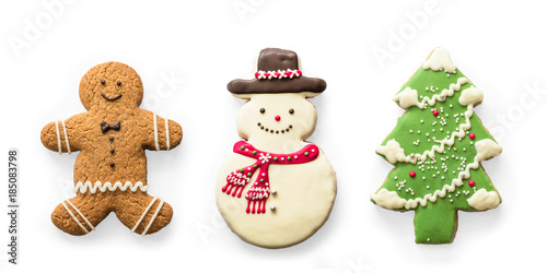 Tuinposter Koekjes Christmas cookies, snowman, X'mas tree, gingerbread isolated on white background with clipping path for Xmas party holiday homemade food design decoration template