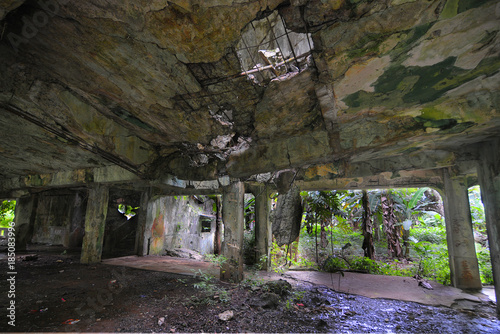 Printed kitchen splashbacks Grocery Remains of Japanese military buildings on Eten island in the Truk Lagoon