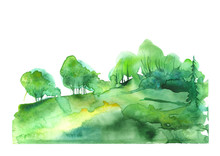 Watercolor Forest, Green Silhouette Of Trees, Bushes., Field. Country View. Postcard, Logo, Card. Drawing Of Green Trees On A Yellow Grass On A White Isolated Background. Splash Of Paint.