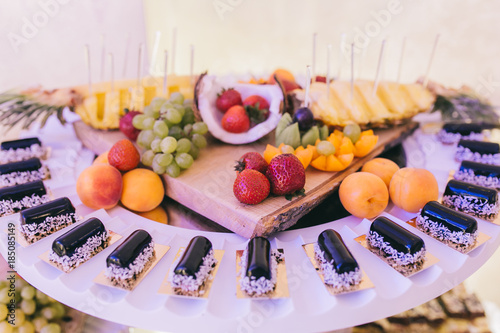 Aluminium Prints Sweet wedding buffet with different of desserts and fruits.