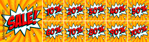 Obraz Big orange color sale set. Sale inscription and all percent numbers. orange and red colors. Pop-art comics style web banners, flash animation, stickers, tags. - fototapety do salonu