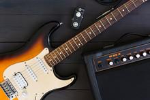 Electric Guitar On Dark Background