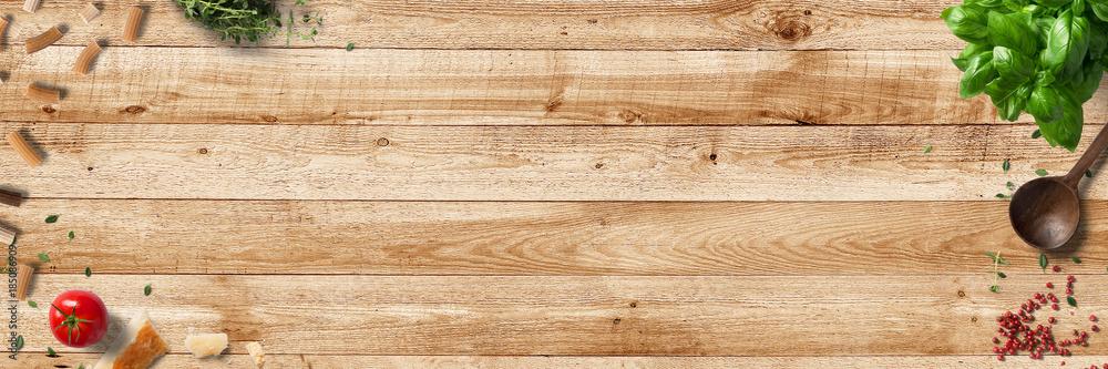 Fototapeta Küche und Kochen - klassische Zutaten - Banner / Hintergrund