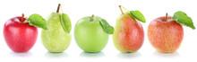 Apfel Früchte Frucht Birne Birnen Äpfel Obst Frisch In Einer Reihe Freisteller Freigestellt Isoliert