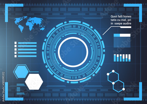 Set of computer futuristic infographic elements and world map tech set of computer futuristic infographic elements and world map tech abstract background template charts and graph gumiabroncs Gallery
