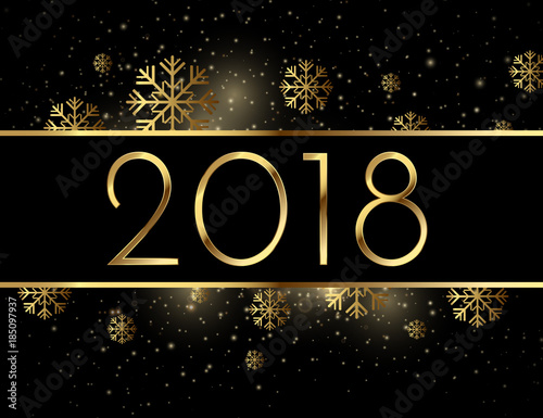 happy new year beautiful golden illustration 2018 gold number holiday background with snowflakes and