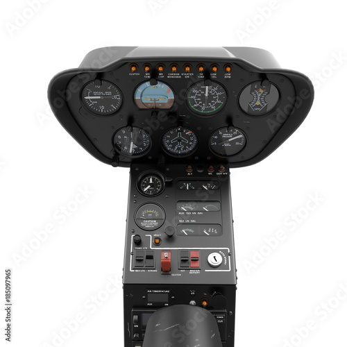 Helicopter instrument and control panel on white. 3D illustration Canvas Print