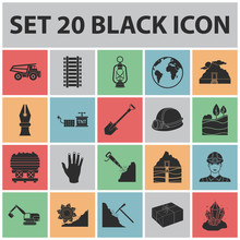 Mining Industry Black Icons In...