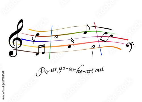 Fotografie, Obraz  Spartito musicale Pour your heart out