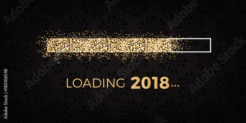 Fotografering  loading 2018 - loading bar - silvester party - golden stars