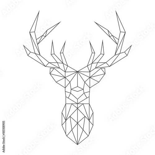Abstract polygonal deer. Geometric hipster minimal style. Vector illustration.
