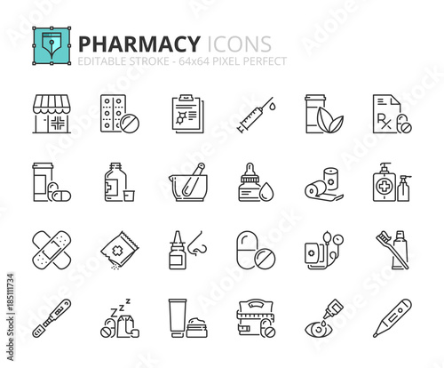 Fotografia Outline icons about pharmacy