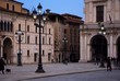 """""""Loggia"""" square in the evening. City Hall Palace of Brescia, Italy."""