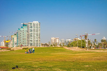 Park Near The Sea With A View Of Skyscrapers, Tel Aviv, Israel.