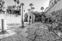Cardo Maximus Roman Pillars. The Remains Of An Ancient Roman Pillars Located In Jewish Quarter In Jerusalem, Israel.