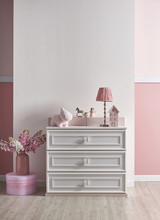 New Born Girl Baby Room With W...