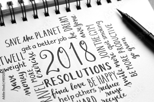 2018 RESOLUTIONS hand-lettered in notebook Poster